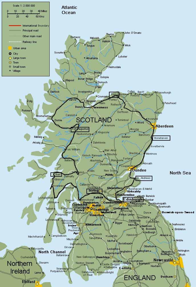 maps tour scozia