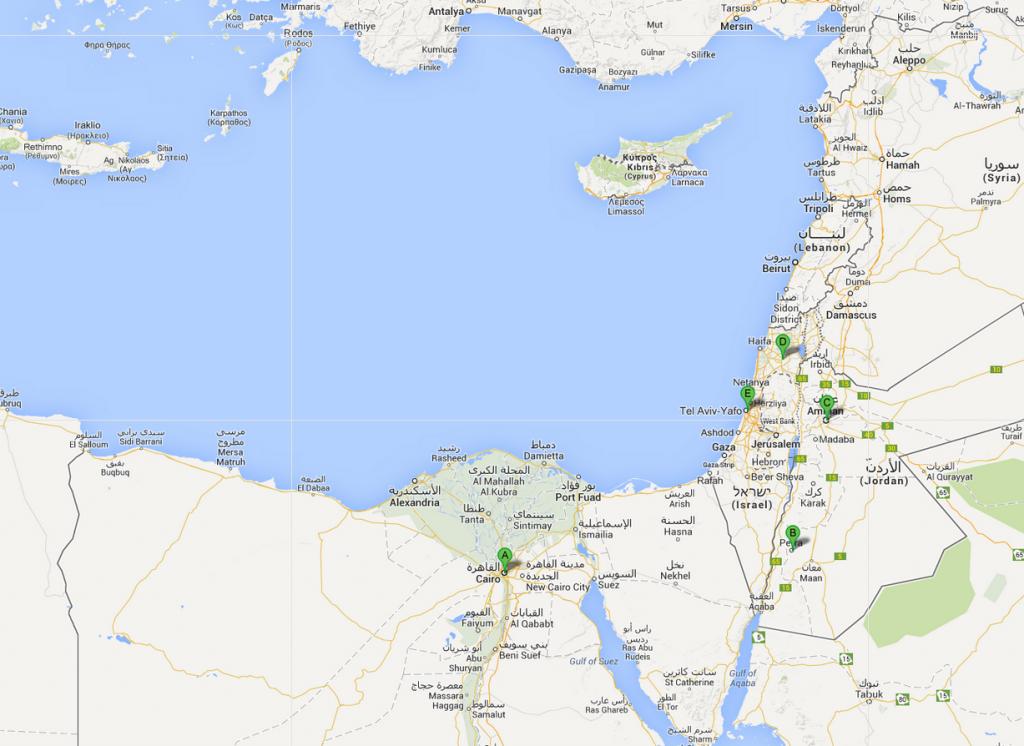 Cartina Egitto, Giordania, Israele