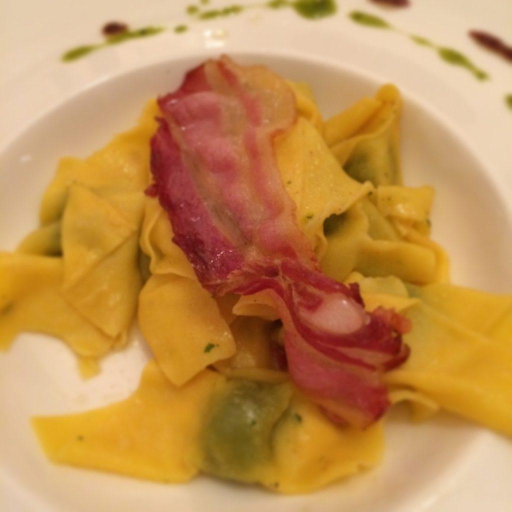 Tortelli di spinaci con Pancetta Ristorante Castello Oldofredi