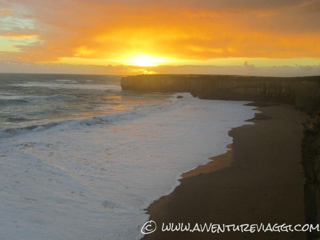 yellow sunset great ocean road