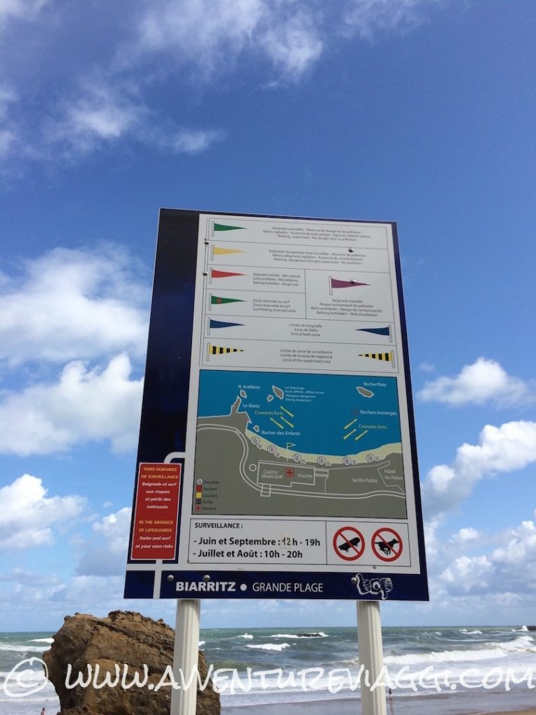 cartello de la grande plage Biarritz