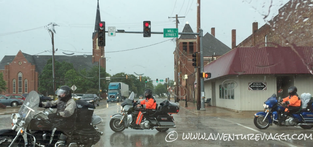 bikers in the rain