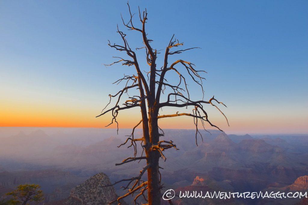 tramonto sul gran canyon